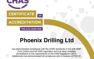 CHAS Premium Plus Accreditation for Phoenix Drilling.